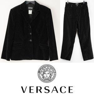 Vintage Versace Jeans Couture Pinstripe Suit Black